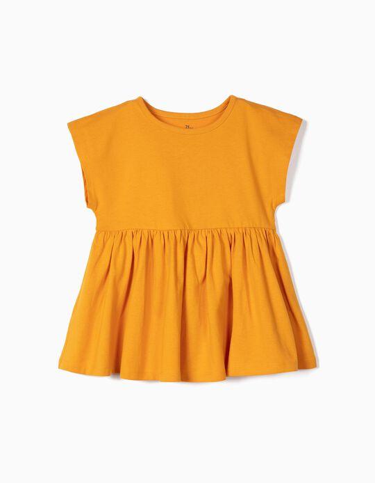 Camiseta con Volantes para Niña de Algodón Orgánico, Amarilla