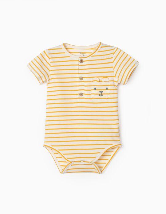Body Riscas para Bebé Menino, Branco/Amarelo