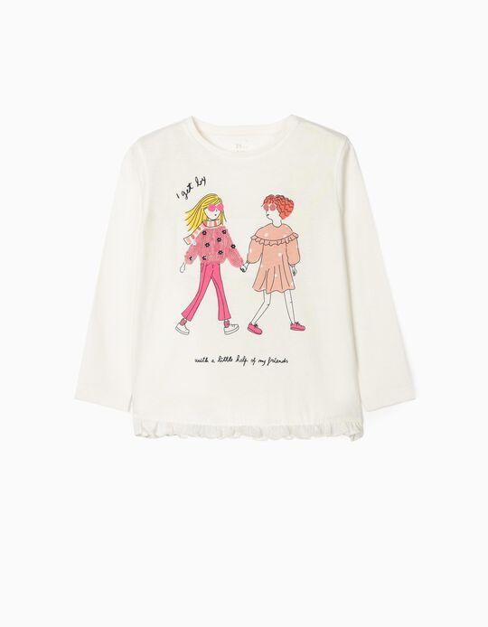 T-shirt Manga Comprida para Menina 'Friends', Branco