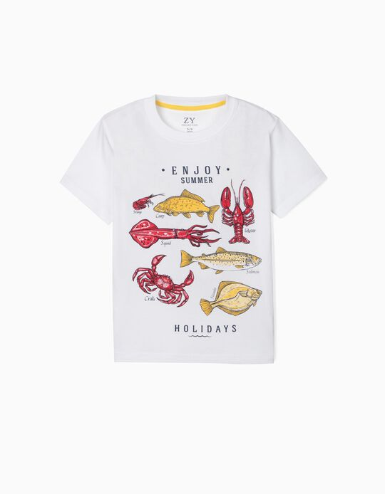 T-shirt para Menino 'Enjoy Summer', Branco