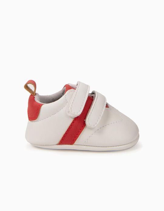 Sapatilhas para Recém-Nascido 'Riscas', Branco e Vermelho