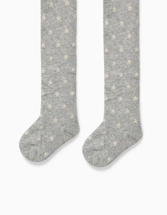 Fine Knit Tights for Baby Girls, 'Stars', Grey