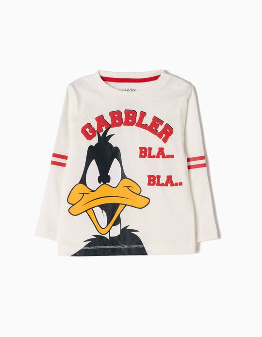 T-shirt Manga Comprida Daffy Duck Branca