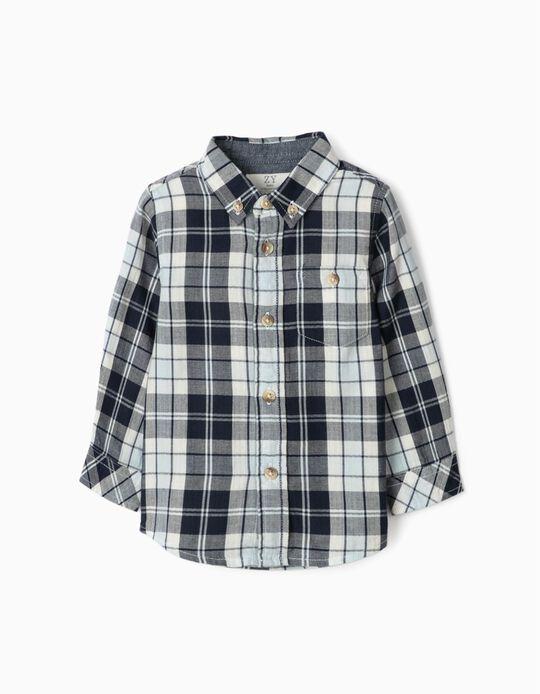 Camisa Ajedrez para Niño, Azul/Blanca