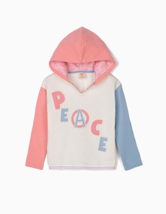 Sweatshirt com Capuz Tricolor Peace