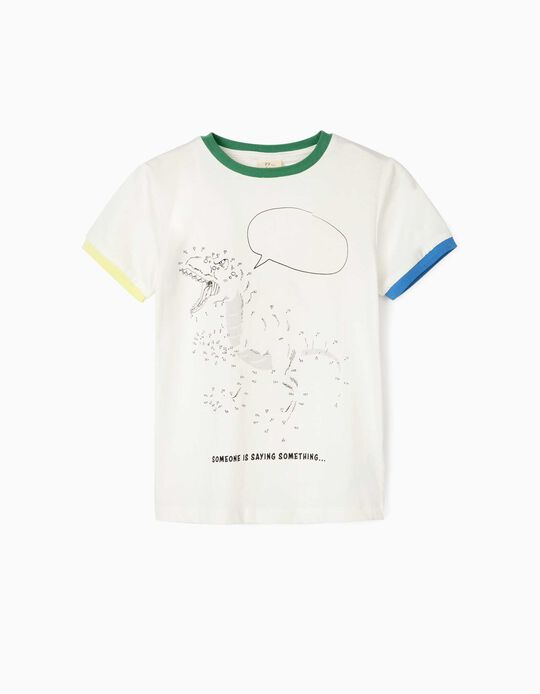 T-shirt for Boys 'Someone is Saying Something', White