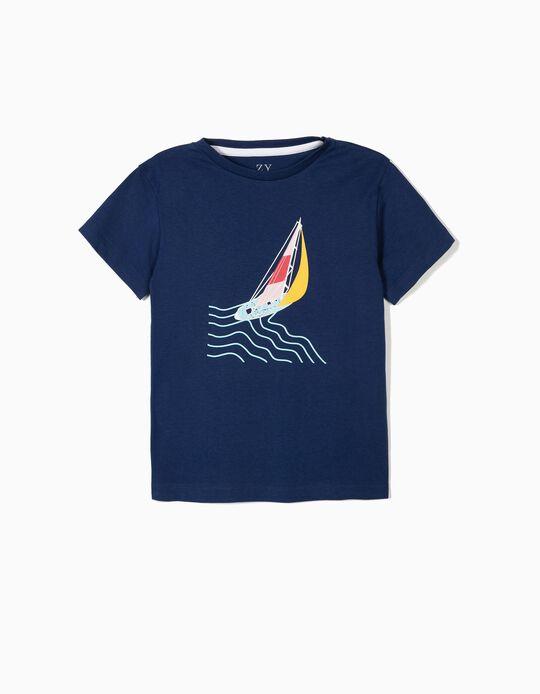 Camiseta para Niño 'ZY Boat', Azul Oscura