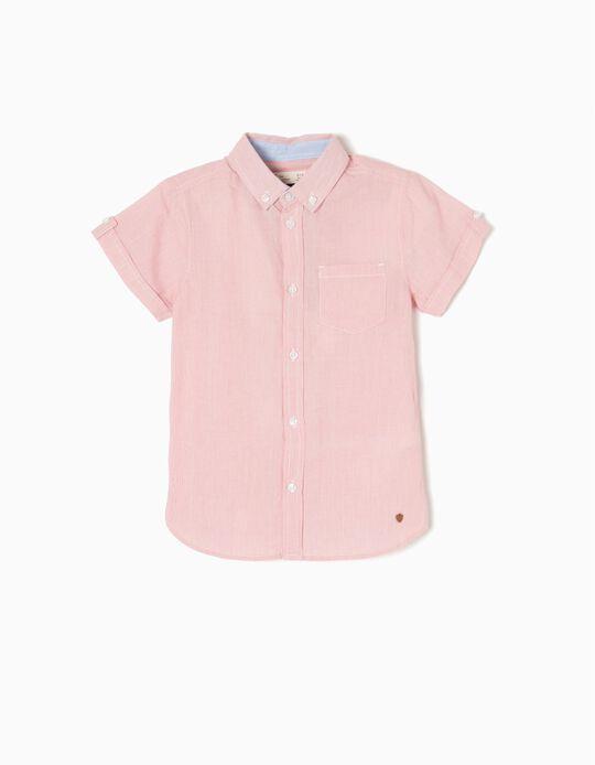 Camisa Manga Curta Riscas para Menino, Vermelho