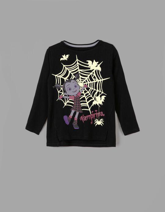 T-shirt Manga Comprida Vampirina - Brilha no Escuro