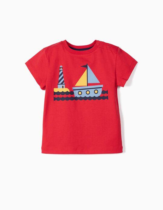 Camiseta para Bebé Niño 'Boat' Antirrayos UV 30, Rojo