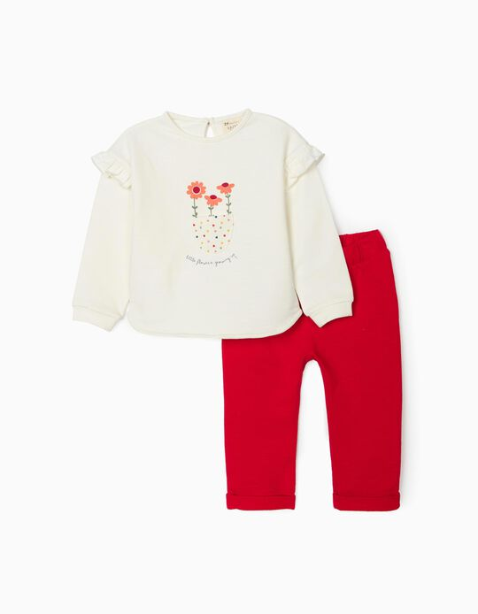 Tracksuit for Baby Girls, 'Flowers', White/Red