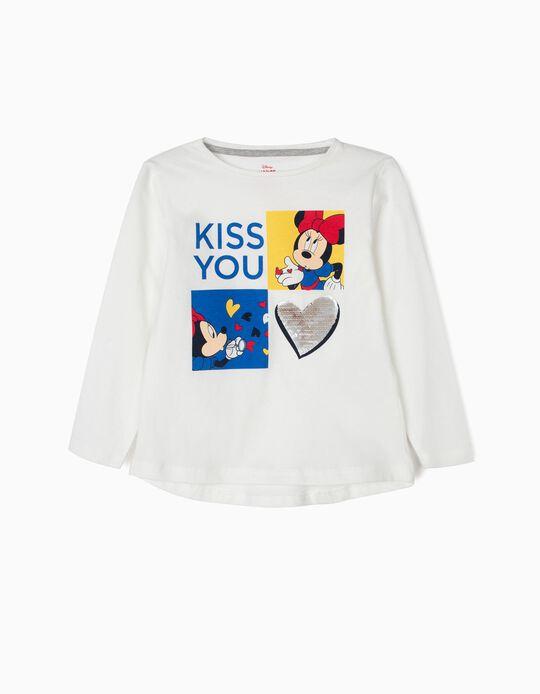 Camiseta de Manga Larga para Niña 'Minnie Kiss' con Lentejuelas Reversibles, Blanca