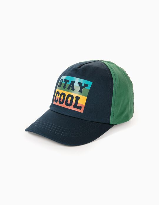 Two-Tone Cap for Boys 'Stay Cool', Dark Blue/Green