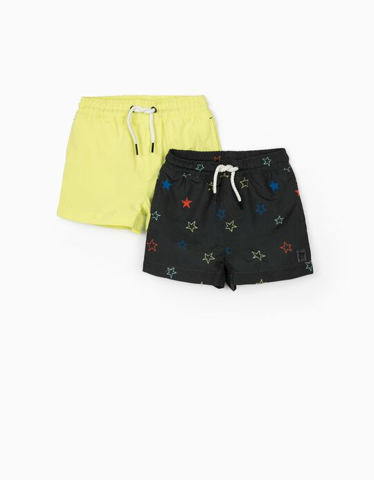 2 Swim Shorts for Baby Boys 'Stars', Grey/Fluorescent Yellow