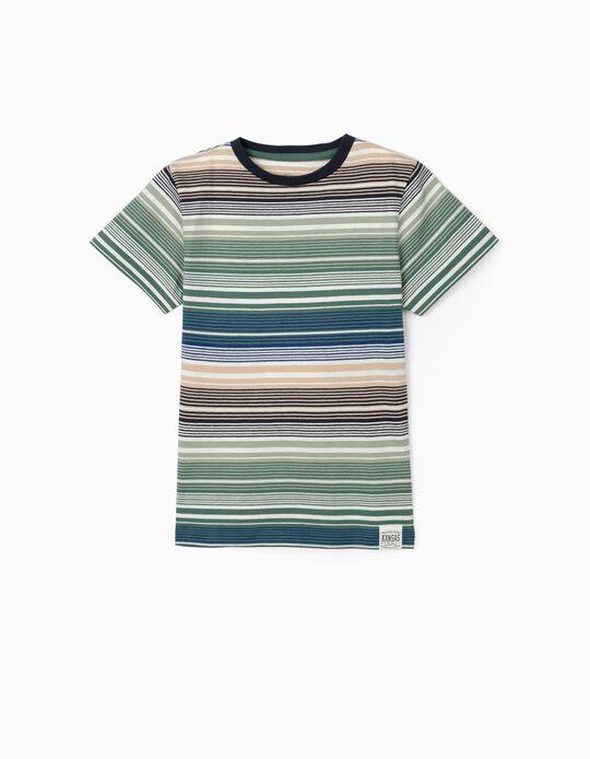 T-shirt Riscas para Menino, Verde/Azul/Bege