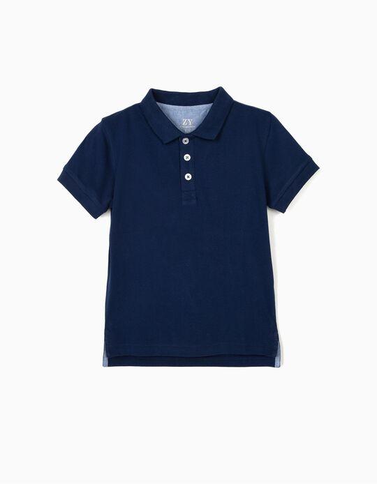 Piqué Knit Polo Shirt for Boys, Blue
