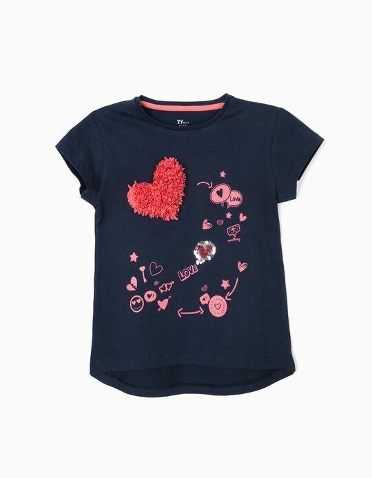 Camiseta para Niña 'Love', Azul Oscuro