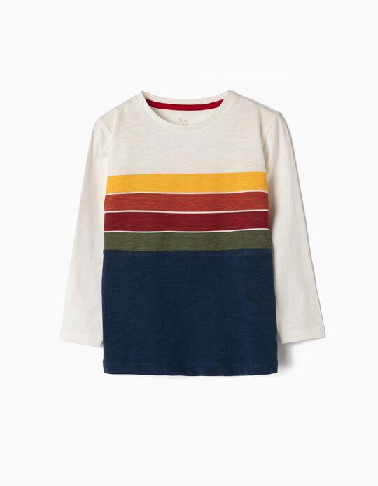 Camiseta de Manga Larga para Niño a 'Rayas', Multicolor