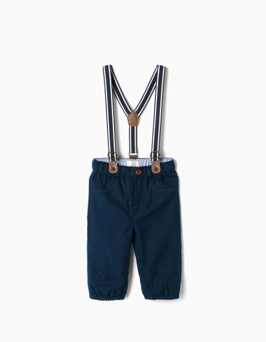 Trousers with Suspenders for Newborn Boys, Dark Blue