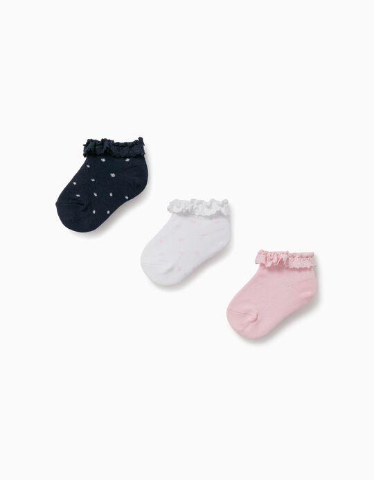3 Pares Meias com Renda para Bebé Menina, Branco/Azul/Rosa