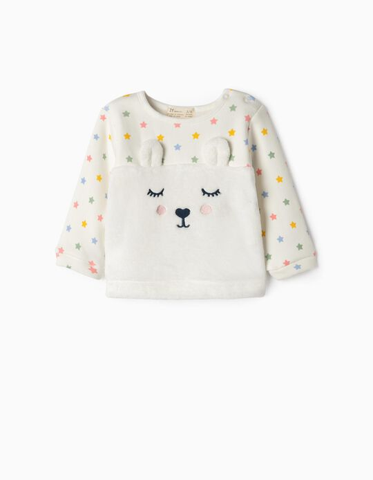 Combined Sweatshirt for Newborn Girls 'Bunny & Stars', White