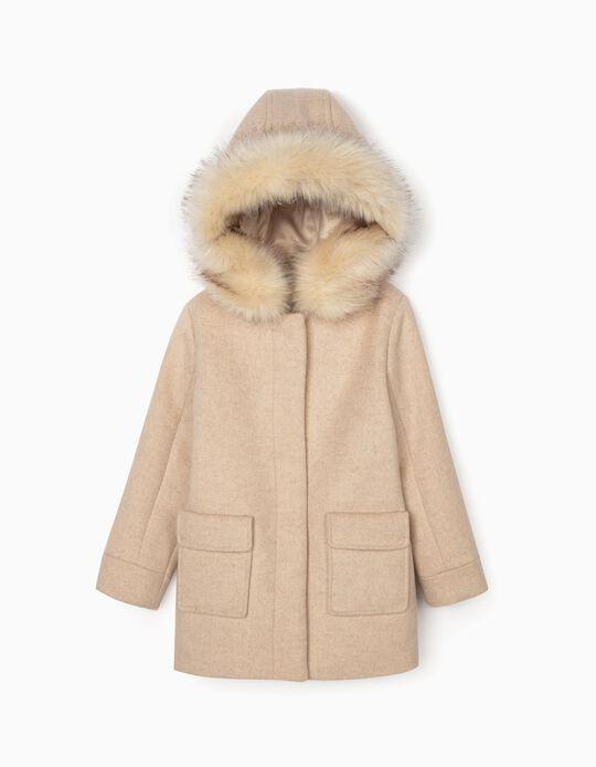 Wool Overcoat for Girls, Beige