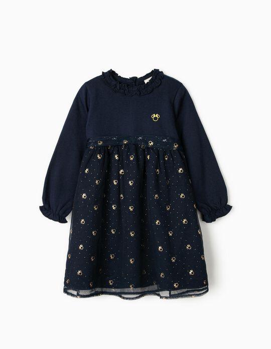 Vestido para Menina 'Minnie', Azul Escuro/Dourado