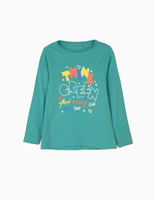 Camiseta de Manga Larga para Niña 'Think Green', Azul
