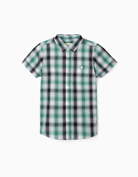 Plaid Short Sleeve Shirt for Boys, Green/Blue