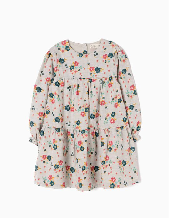 Vestido Menina Flores e Folhos