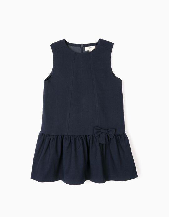 Vestido con Lacito para Niña, Azul Oscuro