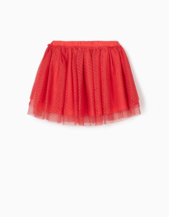 Plumetis Tulle Skirt for Girls, Pink