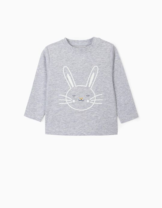 Long Sleeve Top for Newborn Baby Girls 'Bunny', Grey