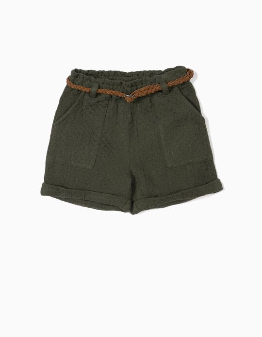 Shorts with Belt for Girls, Dark Green