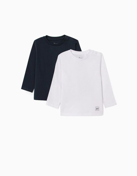 2 Long Sleeve Tops for Baby Boys, White/Dark Blue