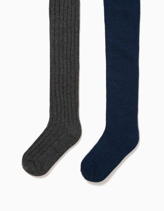 Pack de 2 Collants para Menina, Azul e Cinza Escuro