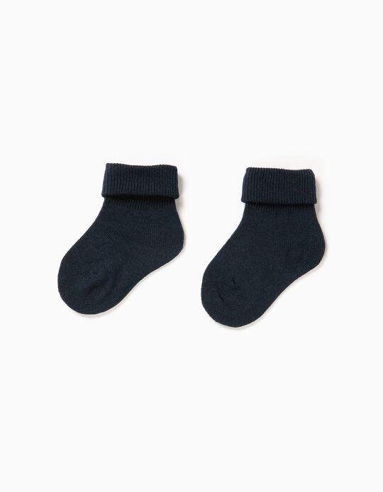 Pack 2 Pares de Calcetines con Vuelta Azul Oscuro