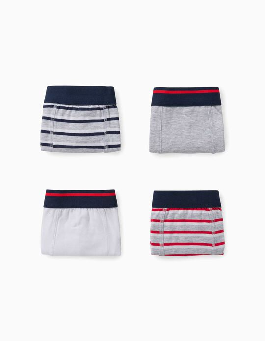 4 Boxer Shorts for Boys, 'Stripes', Multicoloured
