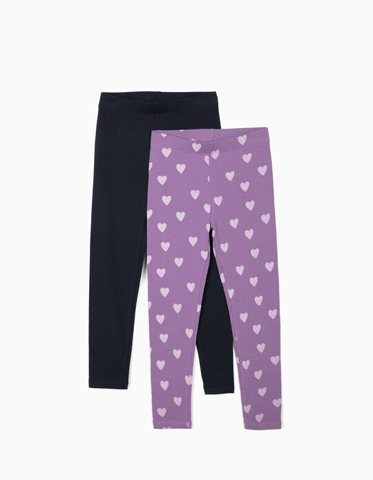 2 Leggings for Girls 'Hearts', Dark Blue/Lilac