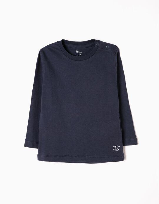 Camiseta de Manga Larga para Bebé Niño, Azul Oscuro