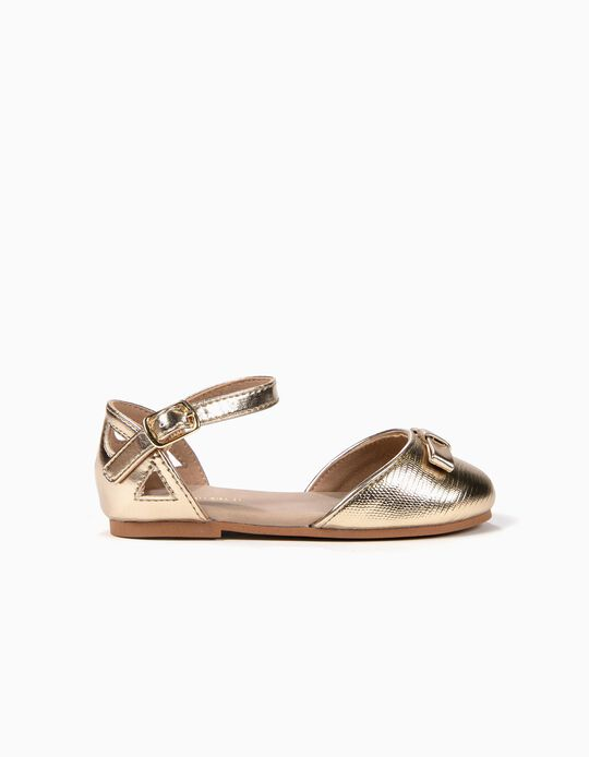Open Ballerinas with Bow for Baby Girls, Golden
