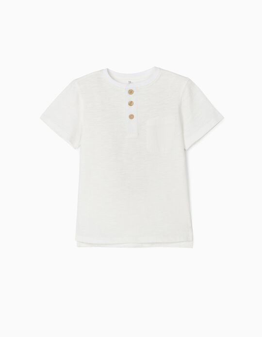T-shirt with Buttons, for Boys, White