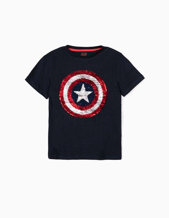 T-shirt para Menino 'Captain America', Azul Escuro