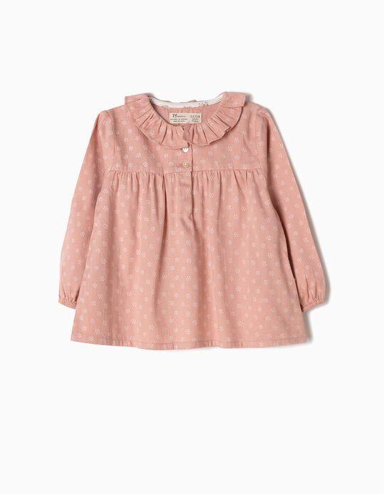 Blusa Bebé Niña Sarga de Flores Rosa