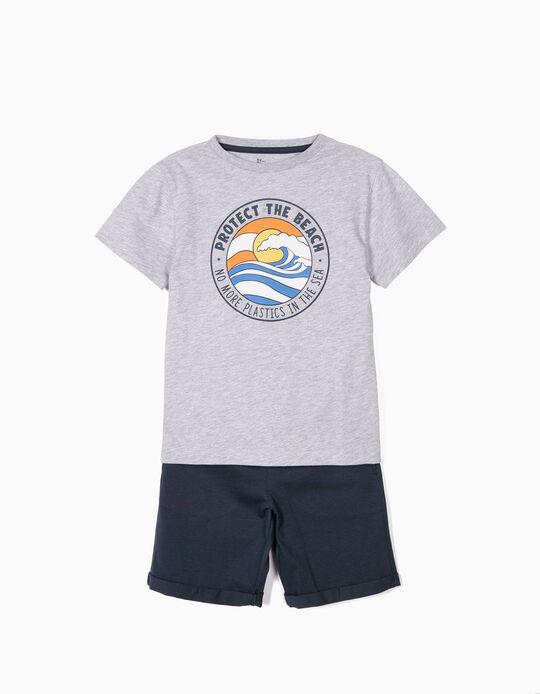 T-shirt e Calções para Menino 'Protect the Beach', Cinza e Azul
