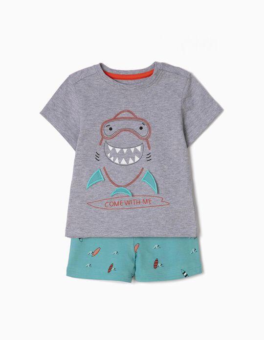 Pijama para Bebé Niño 'Shark', Gris y Azul