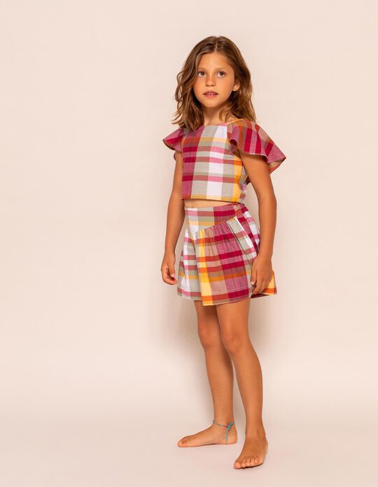 Cropped Chequered Blouse for Girls, Multicoloured