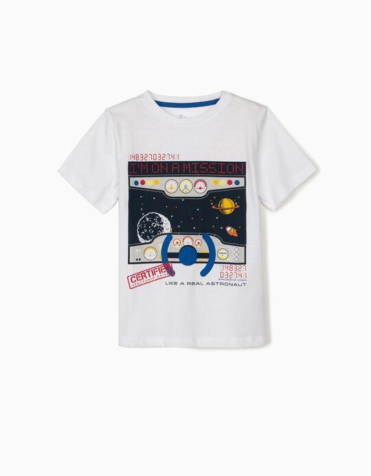 T-shirt para Menino 'Like a Real Astronaut', Branco