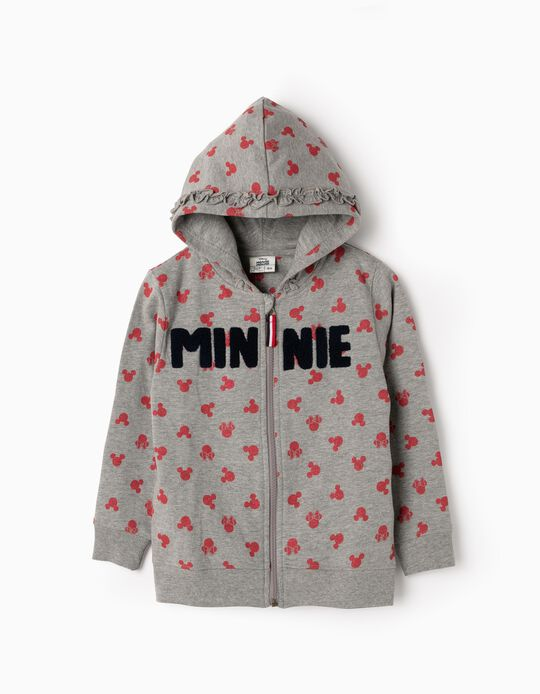 Hooded Fleece Jacket for Girls 'Minnie', Grey
