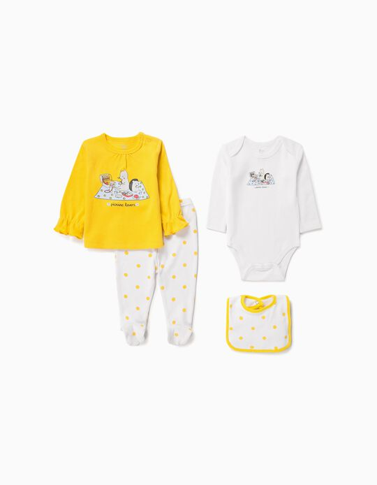 4-Piece Set for Babies 'Picnic Lovers', Yellow/White